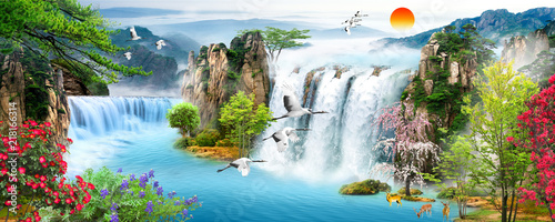 Tuinposter Watervallen Waterfall, flying birds