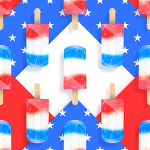 Ice Cream Popsicles America Flag Colors Seamless Pattern. Vector Stock Illustration
