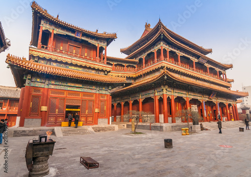 Photo sur Aluminium Pekin Main builings of the Yonghegong Lama temple complex in Beijing, China