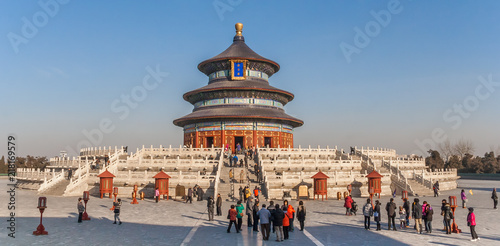 In de dag Peking Panorama of the temple of Heaven in Beijing, China