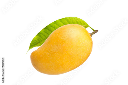 Mango and leaf isolated white background
