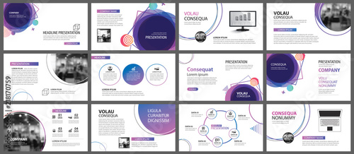 Obraz Presentation and slide layout background. Design blue and purple gradient geometric template. Use for business annual report, flyer, marketing, leaflet, advertising, brochure, modern style. - fototapety do salonu