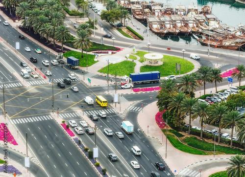 Photo  Highways and port in Dubai, UAE