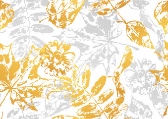 FototapetaSeamless pattern with printed leaves.