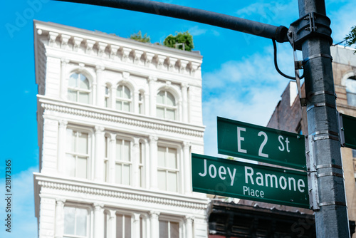 Photo  Joey Ramone Place road sign in East Village of New York