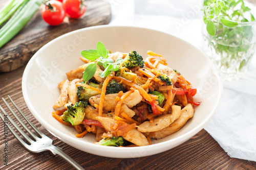 Chicken stir fry with sweet potato noodles