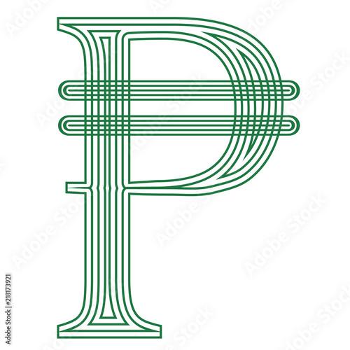 Peso Philippines Cuba Colombia Currency Symbol Icon Striped Vector