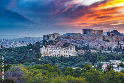 Panorama view on the the Acropolis in Athens, Greece at sunrise. Scenic travel background with dramatic clouds.