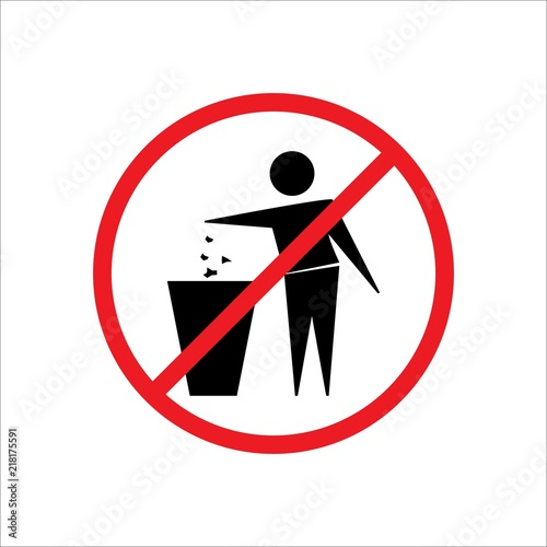 Do Not Litter Sign Silhouette Person On White Background No