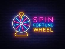 Fortune Wheel Neon Logo Vector...