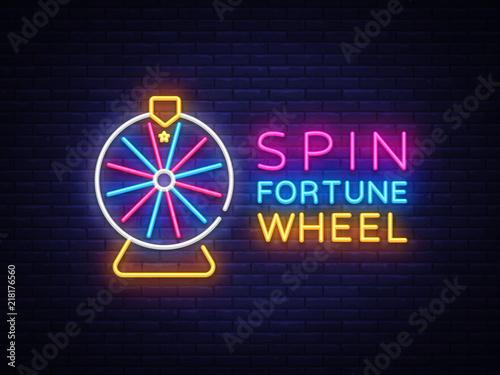 Fortune Wheel Neon Logo Vector Tableau sur Toile