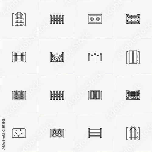 Fotografía Fences And Wickets line icon set with fence, gate and wicket