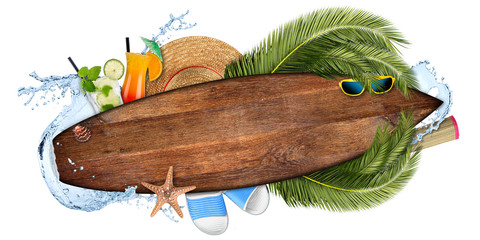 Naklejkabeach summer cocktail bar concept tourism background empty wooden surfboard with copy space coco palm water splash straw hat and seastar isolated on white