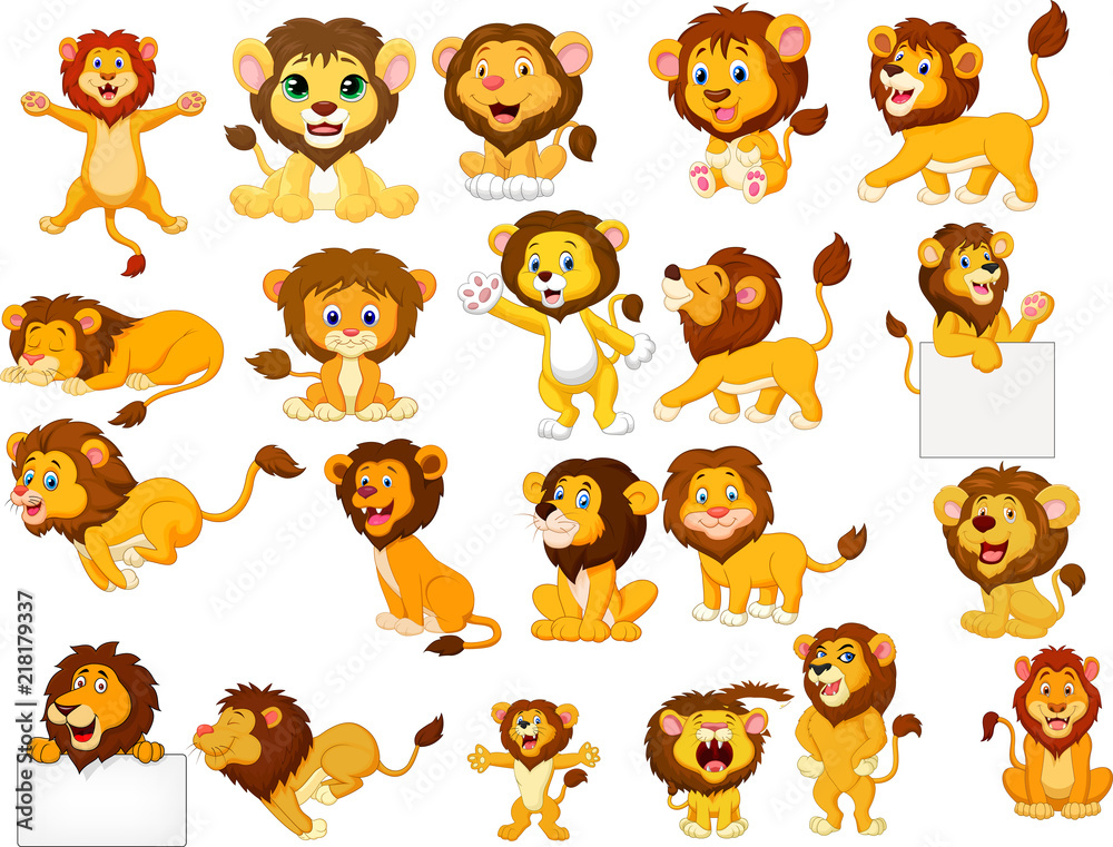 Fototapeta Cartoon lions collection set
