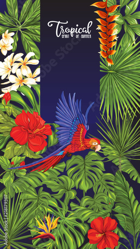 Foto auf AluDibond Ziehen Template of poster, banner, postcard with tropical flowers and plants and parrot bird on black background. Stock vector illustration.