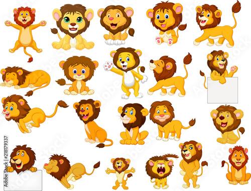 Naklejka premium Zestaw kolekcja kreskówka lwy