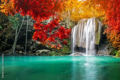 Amazing beauty of nature, waterfall at colorful autumn forest  - 218182936