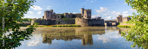 Obraz na plátně Caerphilly Castle in Caerphilly near Cardiff, Wales, UK