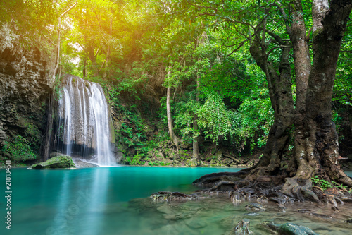 Recess Fitting Waterfalls Erawan waterfall in tropical forest, Thailand