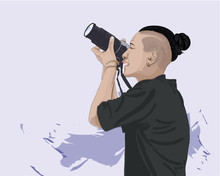 Vector Illustration Of Woman Taking Photo With Photo Camera