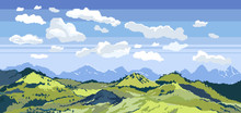 Pixel Art Background. Location With Mountains, Grass And Clouds. Landscape For Game Or Application. Outdoor Concept. Vector Sky With Clouds Pixel Art Background. Vector Pixel Art Clouds Collection.
