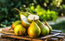 Juicy Fresh Pears On An Old Wo...