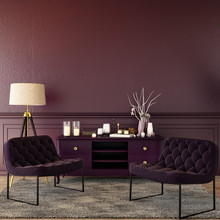 Living Interior Design In Classic Style With Decoration Set  On Sideboard, Velvet Armchair On Wooden Floor And Violet Wall,3d Illustration,3d Rendering