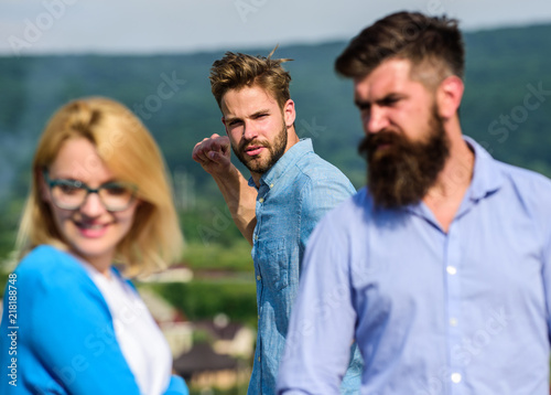 Fotografie, Tablou  Man found or detected girlfriend cheating him walking with another man