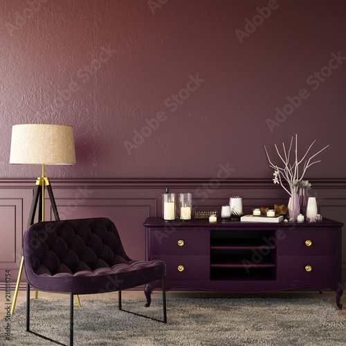 Fotografie, Tablou living interior design in classic style with decoration set  on sideboard, velve