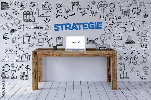 Fotografia, Obraz Strategie Slogan an Arbeitsplatz als Konzept