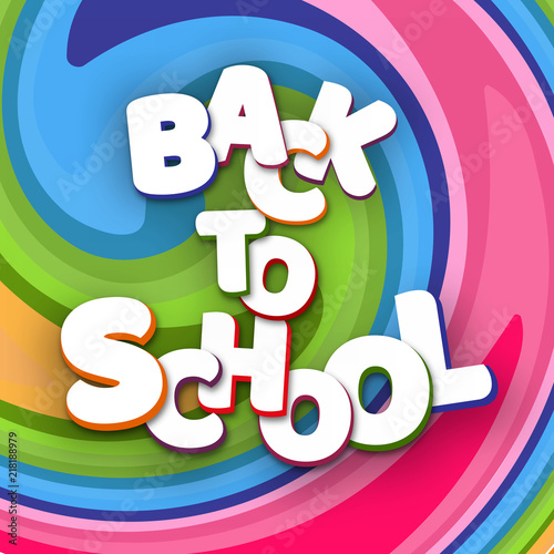 Valokuva  Poster white letters Back to school on a bright background colorful lines Creati
