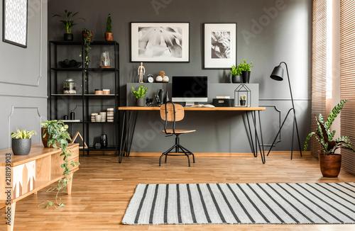 Obraz Spacious grey workspace interior - fototapety do salonu