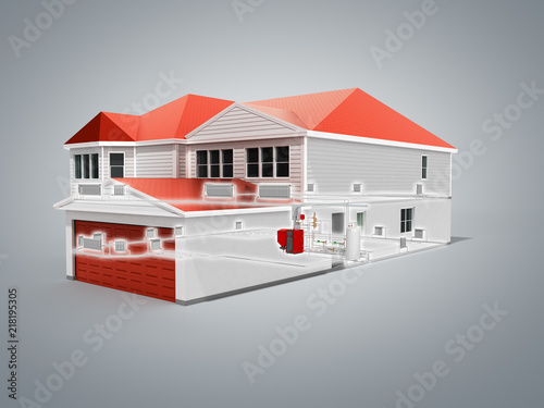 Private House Heating System Building Concept 3d Render On Grey