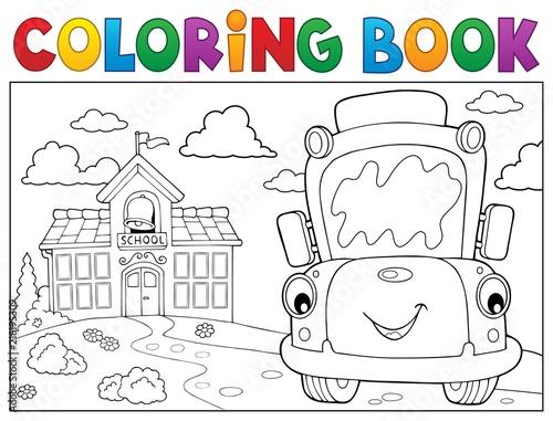 Poster Voor kinderen Coloring book school bus theme 8