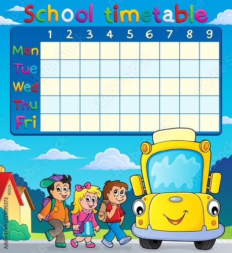 Poster Voor kinderen School timetable with pupils and bus
