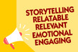 Text sign showing Storytelling Relatable Relevant Emotional Engaging. Conceptual photo Share memories Tales Megaphone loudspeaker yellow background important message speaking loud.