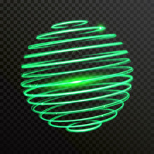 Green Spiral Sphere Globe Of Neon Light. Vector Shiny Trace Or Twirl Trail With Shine Sparkle Effect
