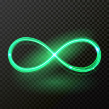 Green Neon Light Of Infinity Trail Trace. Vector Abstract Neon Shine Spiral Twirl On Transparent Background