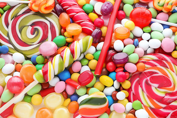Many different candies, closeup