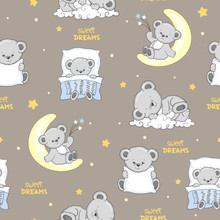 Cute Sleeping Teddy Bears Seamless Pattern.