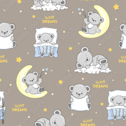 Tela  Cute sleeping Teddy Bears seamless pattern.