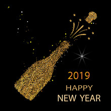 Happy New Year. Gold Glitter 2019. Champagne Icon. Silhouette Of A Champagne Bottle. Vector