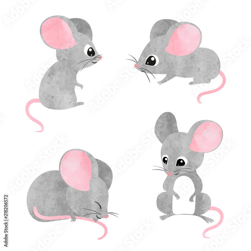 Fototapeta Set of cute little mice. Vector watercolor mouse collection.