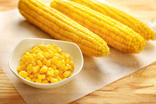 Bowl With Corn Kernels And Cob...