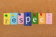 canvas print picture - Word Respect Formed by Letters Written on Colorful Notes