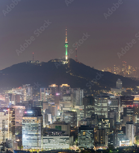 Foto op Canvas Seoel Night view of Seoul Downtown cityscape