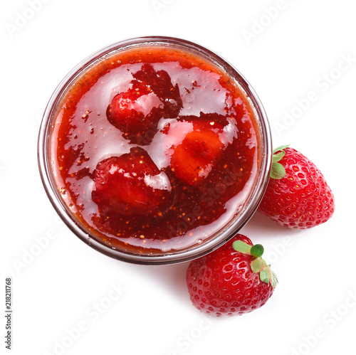Photo Bowl with delicious strawberry jam on white background