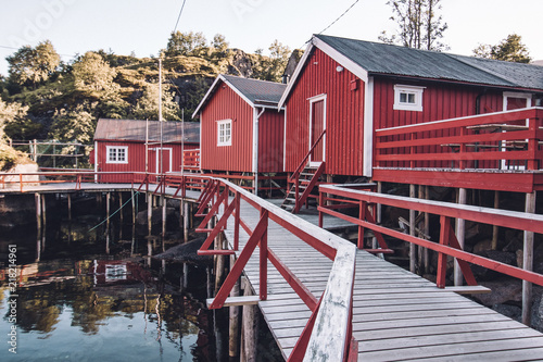 Fotografie, Obraz  traditional fishing houses in red color in norway