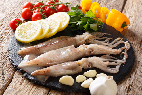 Raw seafood for cooking squid close-up and ingredients on a slate board. horizontal