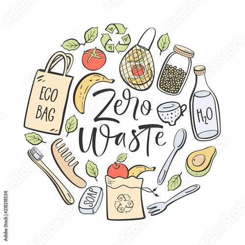 Fotografija  Zero waste hand written lettering. Eco lifestyle, vector design.